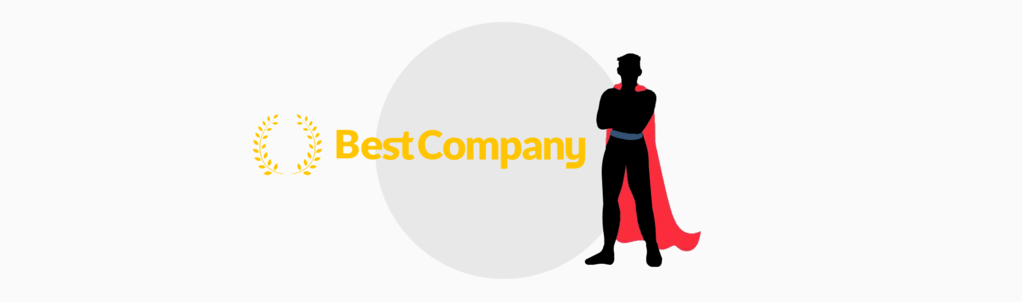 BestCompany.com logo next to cartoon superhero with red cape