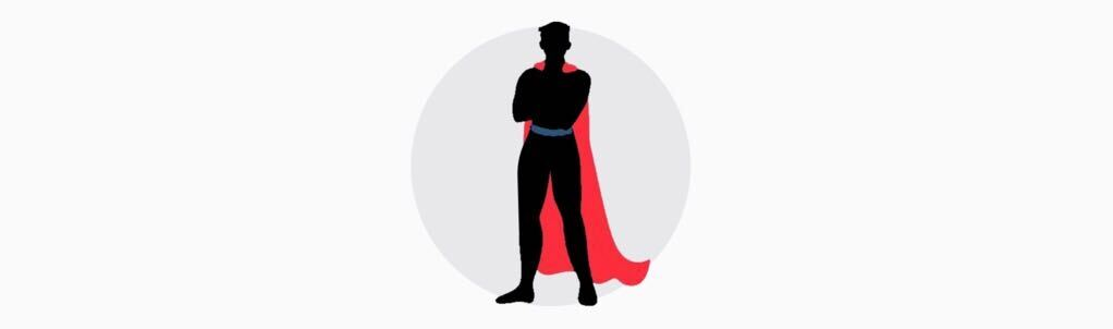 cartoon superhero with red cape