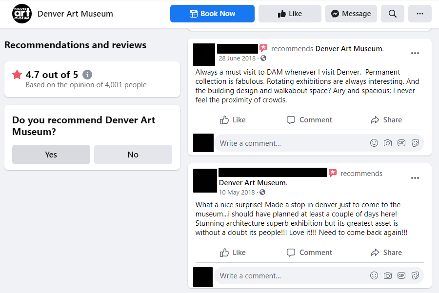 Facebook Recommendations of an art museum