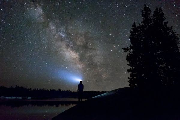 Person with headlamp looking up at starry night sky