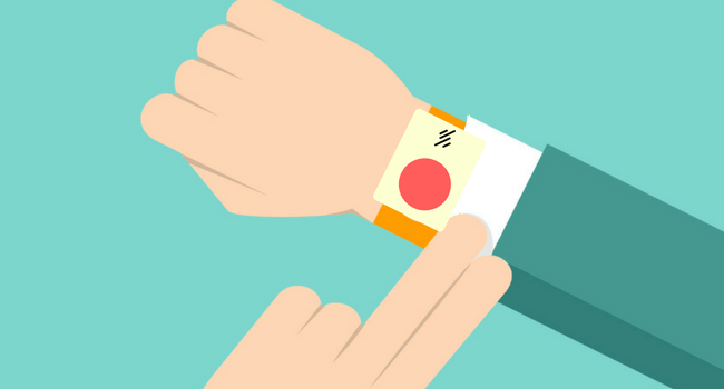 person with a medical alert watch illustration