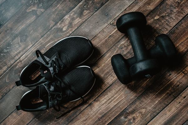 exercise shoes and free weights